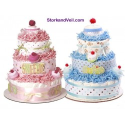 Pink or Blue Cupcake Diaper Cake